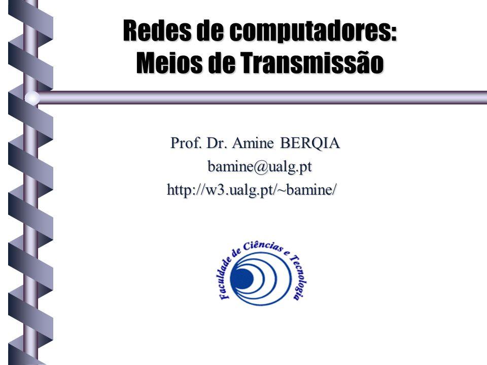 Sumário Fundamentos de redes Meio de transmissão: Definição Opções: Par trançado Cabo coaxial Fibra óptica Rede sem Fios