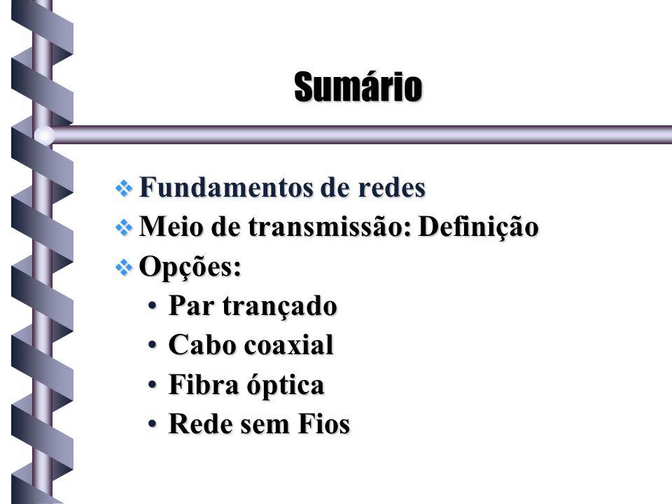 Fundamentos de redes Uma rede consiste de: Meio de transmissão (cobre, cabo.).