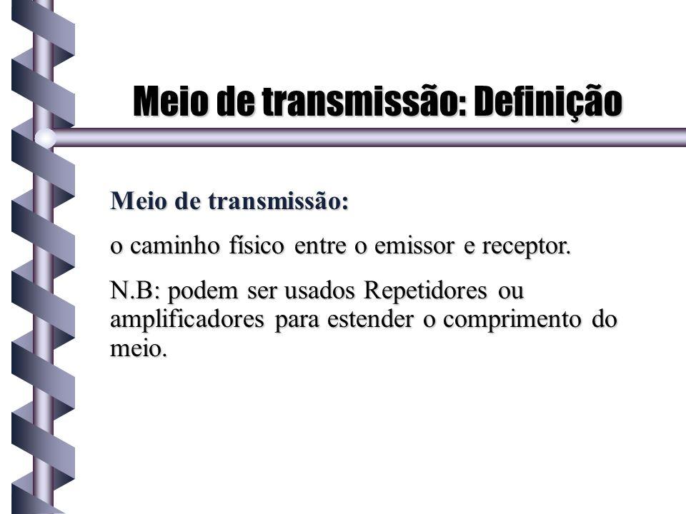 Meio de transmissão: Definição Meio de transmissão: o caminho físico entre o emissor e receptor. N.B: podem ser usados Repetidores ou amplificadores p