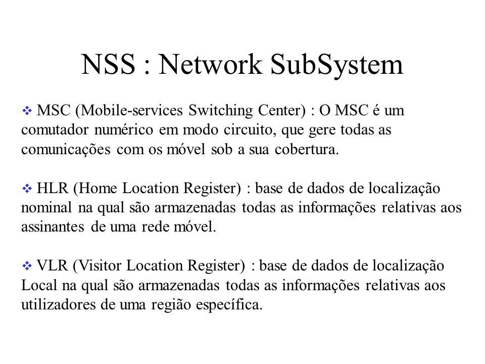 NSS : Network SubSystem MSC (Mobile-services Switching Center) : O MSC é um comutador numérico em modo circuito, que gere todas as comunicações com os móvel sob a sua cobertura.