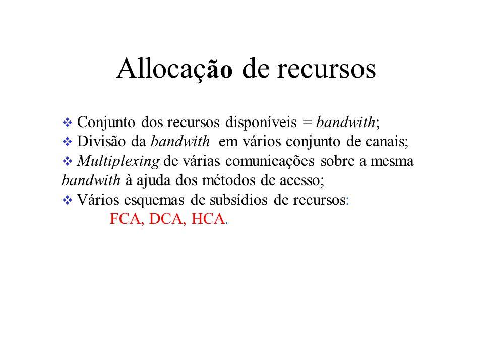 Allocaç ão de recursos Conjunto dos recursos disponíveis = bandwith; Divisão da bandwith em vários conjunto de canais; Multiplexing de várias comunicações sobre a mesma bandwith à ajuda dos métodos de acesso; Vários esquemas de subsídios de recursos: FCA, DCA, HCA.