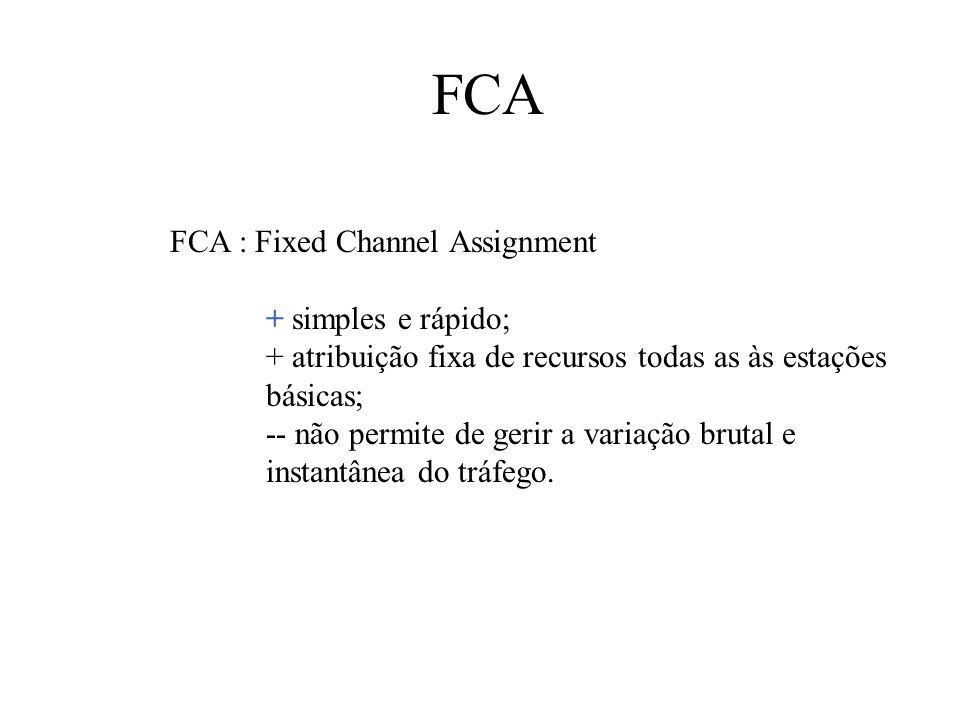 FCA FCA : Fixed Channel Assignment + simples e rápido; + atribuição fixa de recursos todas as às estações básicas; -- não permite de gerir a variação brutal e instantânea do tráfego.