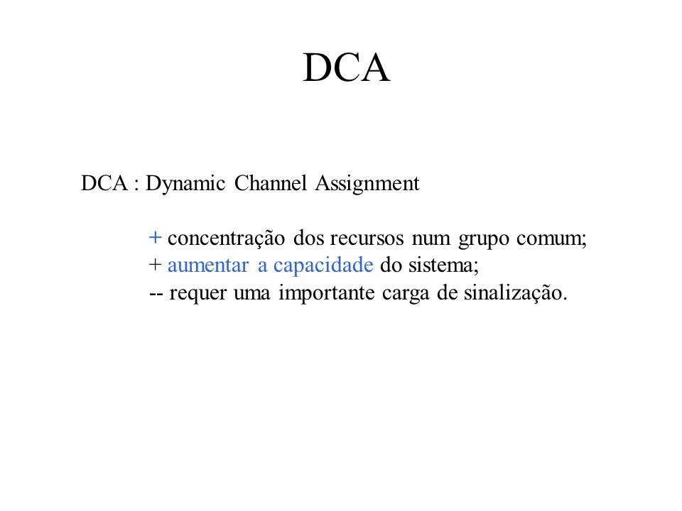 DCA DCA : Dynamic Channel Assignment + concentração dos recursos num grupo comum; + aumentar a capacidade do sistema; -- requer uma importante carga de sinalização.
