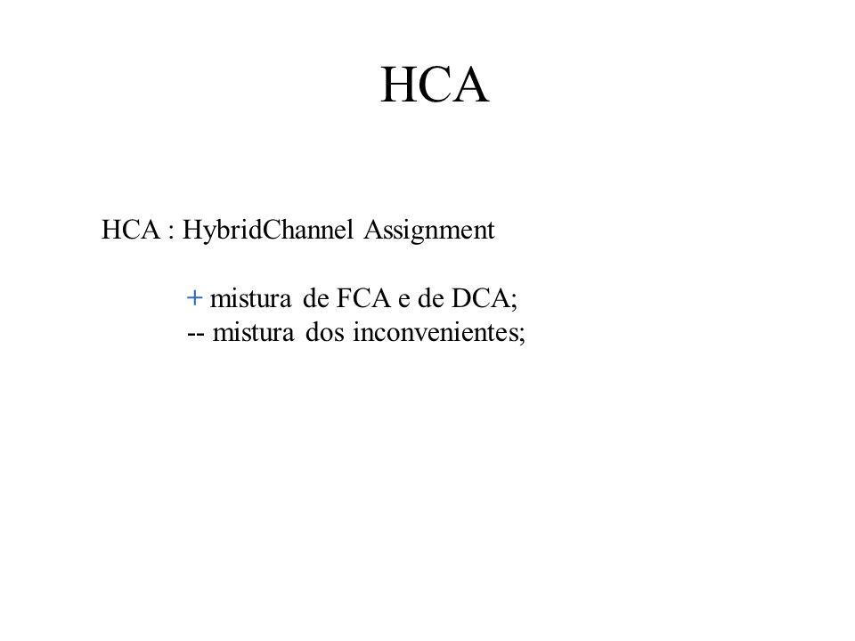 HCA HCA : HybridChannel Assignment + mistura de FCA e de DCA; -- mistura dos inconvenientes;