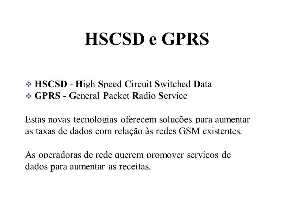HSCSD e GPRS HSCSD - High Speed Circuit Switched Data GPRS - General Packet Radio Service Estas novas tecnologias oferecem soluções para aumentar as taxas de dados com relação às redes GSM existentes.