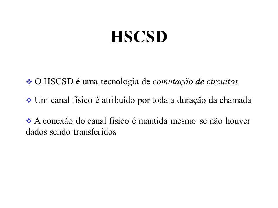HSCSD O HSCSD é uma tecnologia de comutação de circuitos Um canal físico é atribuído por toda a duração da chamada A conexão do canal físico é mantida mesmo se não houver dados sendo transferidos