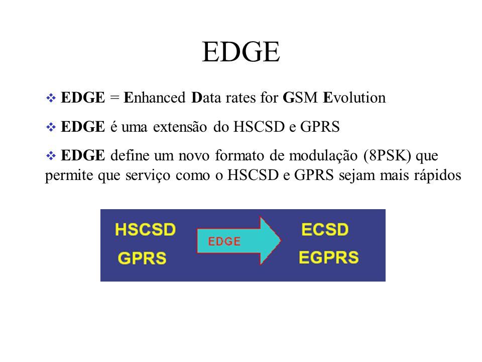 EDGE EDGE = Enhanced Data rates for GSM Evolution EDGE é uma extensão do HSCSD e GPRS EDGE define um novo formato de modulação (8PSK) que permite que serviço como o HSCSD e GPRS sejam mais rápidos