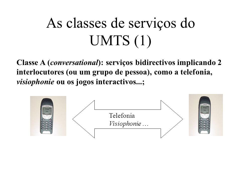 As classes de serviços do UMTS (1) Classe A (conversational): serviços bidirectivos implicando 2 interlocutores (ou um grupo de pessoa), como a telefonia, visiophonie ou os jogos interactivos...; Telefonia Visiophonie …