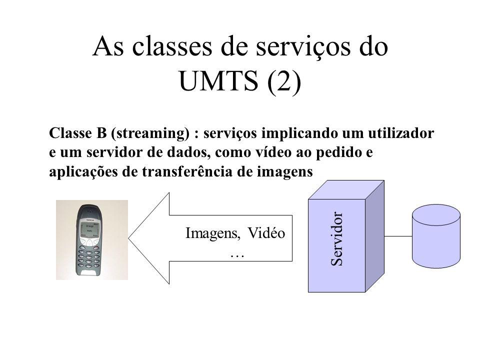 As classes de serviços do UMTS (2) Classe B (streaming) : serviços implicando um utilizador e um servidor de dados, como vídeo ao pedido e aplicações de transferência de imagens Servidor Imagens, Vidéo …