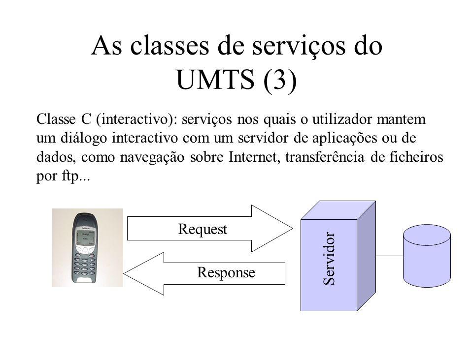 As classes de serviços do UMTS (3) Classe C (interactivo): serviços nos quais o utilizador mantem um diálogo interactivo com um servidor de aplicações ou de dados, como navegação sobre Internet, transferência de ficheiros por ftp...