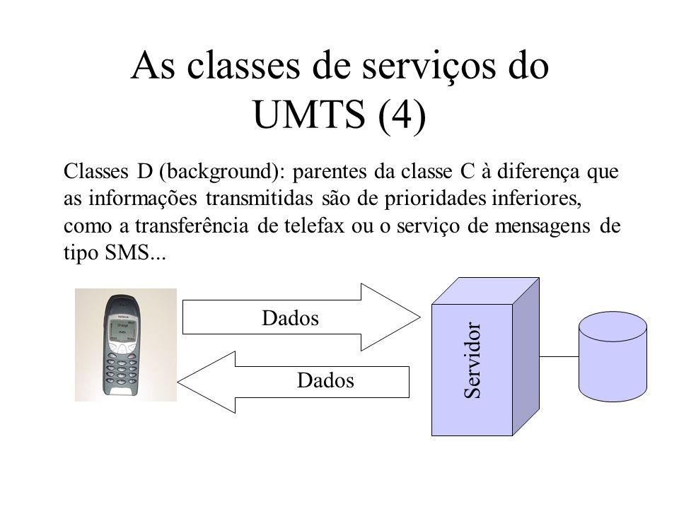 As classes de serviços do UMTS (4) Classes D (background): parentes da classe C à diferença que as informações transmitidas são de prioridades inferiores, como a transferência de telefax ou o serviço de mensagens de tipo SMS...