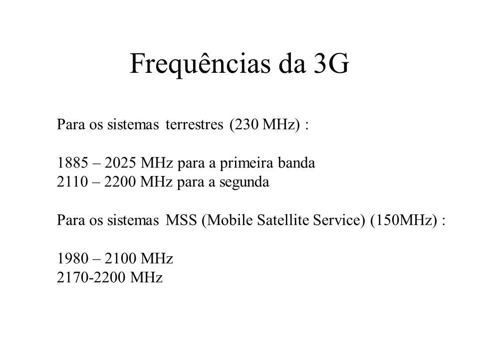 Frequências da 3G Para os sistemas terrestres (230 MHz) : 1885 – 2025 MHz para a primeira banda 2110 – 2200 MHz para a segunda Para os sistemas MSS (Mobile Satellite Service) (150MHz) : 1980 – 2100 MHz 2170-2200 MHz