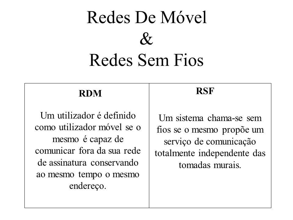 Redes De Móvel & Redes Sem Fios RDM RSF Um utilizador é definido como utilizador móvel se o mesmo é capaz de comunicar fora da sua rede de assinatura conservando ao mesmo tempo o mesmo endereço.