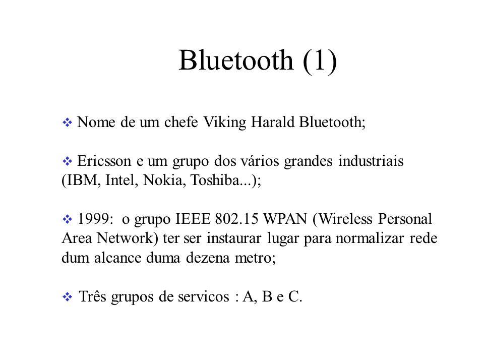Bluetooth (1) Nome de um chefe Viking Harald Bluetooth; Ericsson e um grupo dos vários grandes industriais (IBM, Intel, Nokia, Toshiba...); 1999: o grupo IEEE 802.15 WPAN (Wireless Personal Area Network) ter ser instaurar lugar para normalizar rede dum alcance duma dezena metro; Três grupos de servicos : A, B e C.