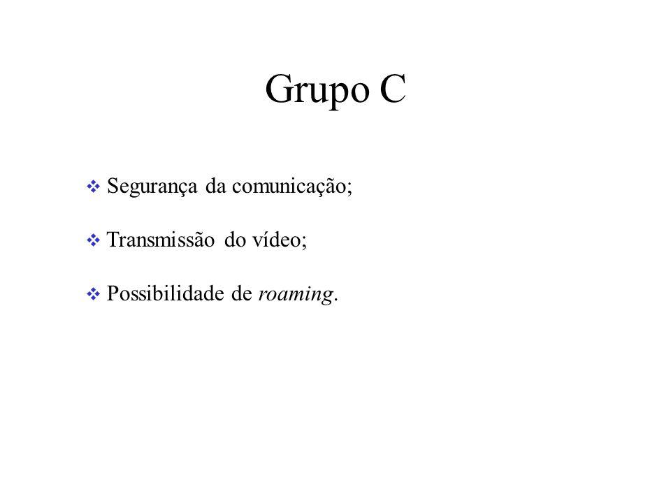 Grupo C Segurança da comunicação; Transmissão do vídeo; Possibilidade de roaming.