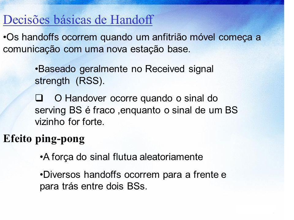 Decisões básicas de Handoff Os handoffs ocorrem quando um anfitrião móvel começa a comunicação com uma nova estação base. Baseado geralmente no Receiv