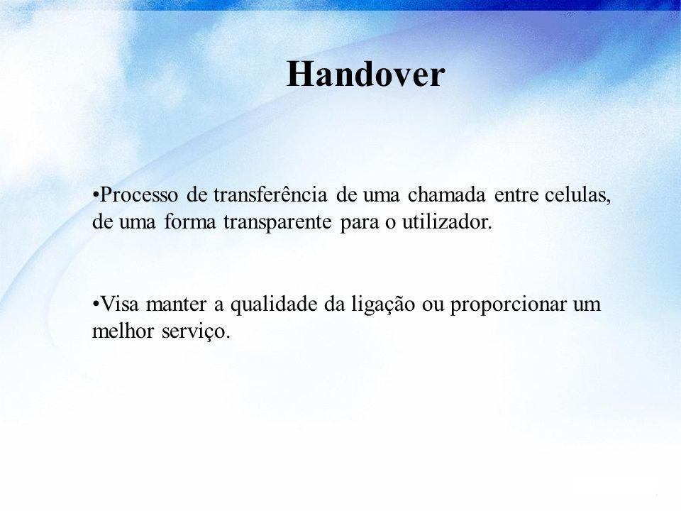 Handover Processo de transferência de uma chamada entre celulas, de uma forma transparente para o utilizador. Visa manter a qualidade da ligação ou pr