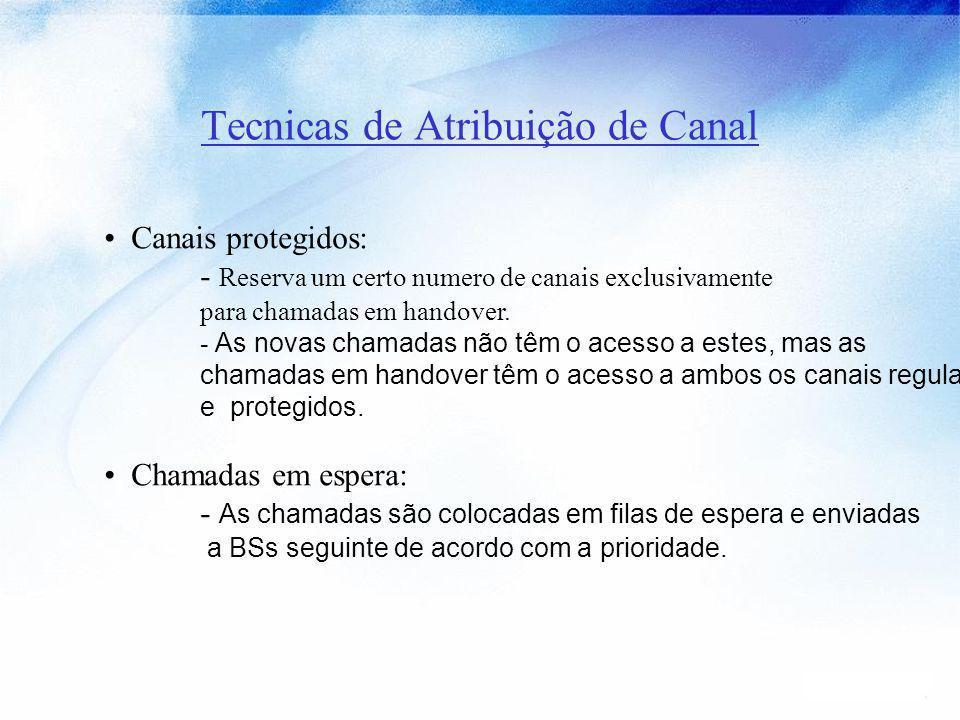Tecnicas de Atribuição de Canal Canais protegidos: - Reserva um certo numero de canais exclusivamente para chamadas em handover. - As novas chamadas n