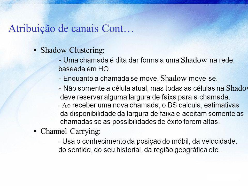 Atribuição de canais Cont… Shadow Clustering: - Uma chamada é dita dar forma a uma Shadow na rede, baseada em HO. - Enquanto a chamada se move, Shadow