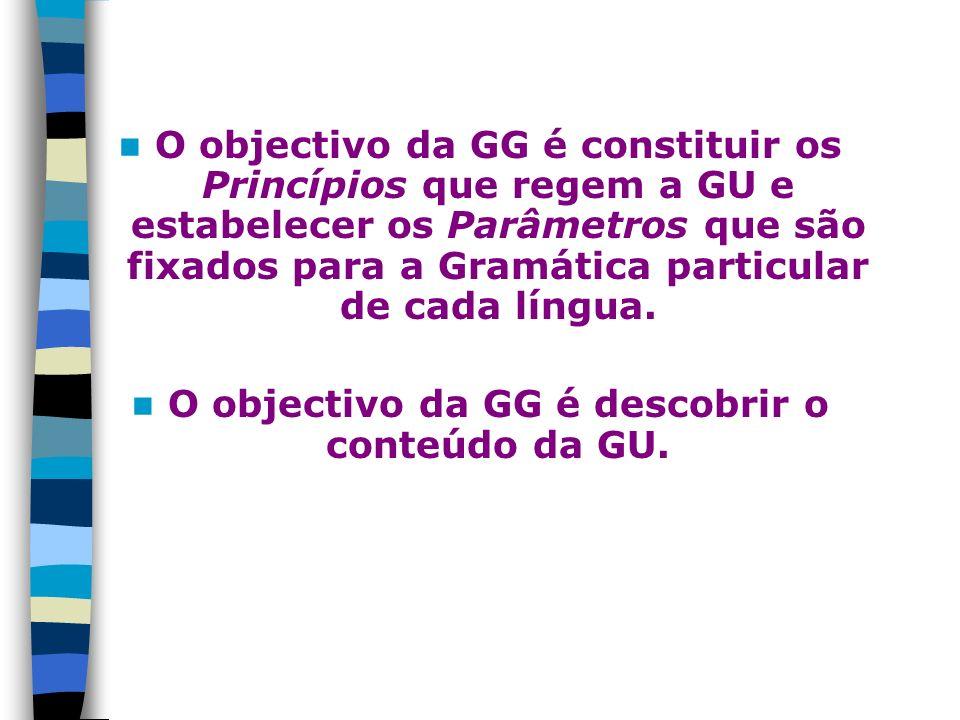 O objectivo da GG é constituir os Princípios que regem a GU e estabelecer os Parâmetros que são fixados para a Gramática particular de cada língua. O