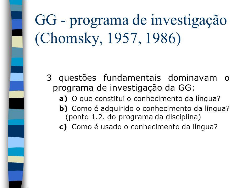 GG - programa de investigação (Chomsky, 1957, 1986) 3 questões fundamentais dominavam o programa de investigação da GG: a)O que constitui o conhecimen