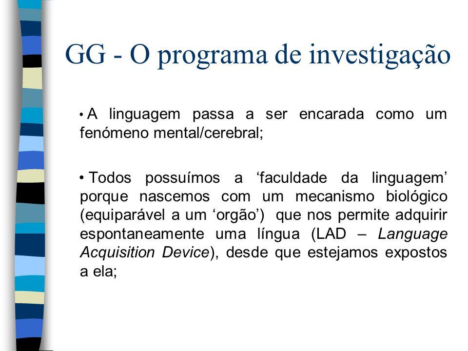 GG - O programa de investigação A linguagem passa a ser encarada como um fenómeno mental/cerebral; Todos possuímos a faculdade da linguagem porque nas