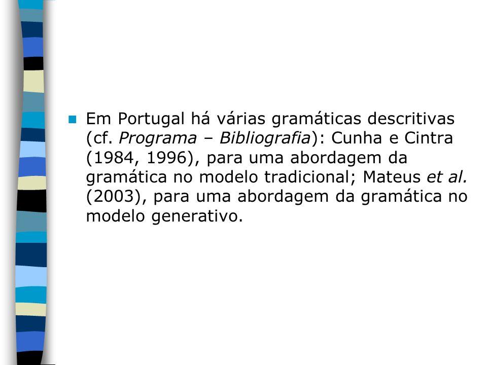 Em Portugal há várias gramáticas descritivas (cf. Programa – Bibliografia): Cunha e Cintra (1984, 1996), para uma abordagem da gramática no modelo tra