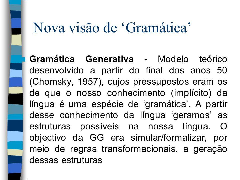 Nova visão de Gramática Gramática Generativa - Modelo teórico desenvolvido a partir do final dos anos 50 (Chomsky, 1957), cujos pressupostos eram os d