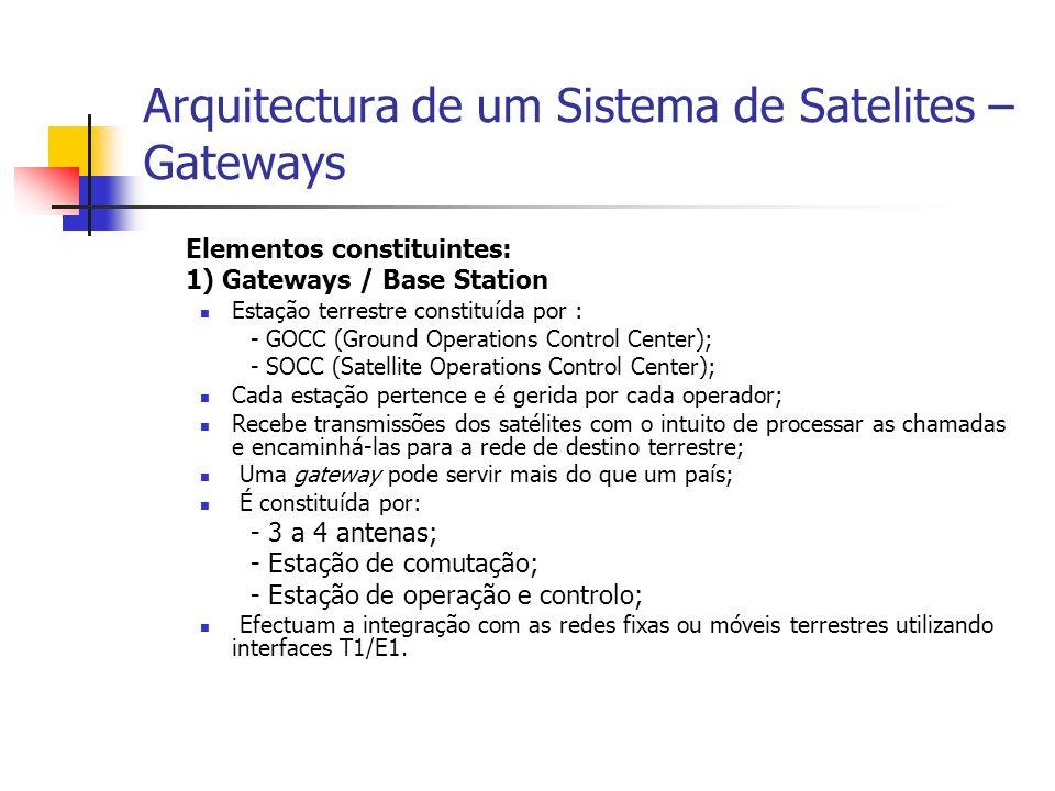 Arquitectura de um Sistema de Satelites – Gateways Elementos constituintes: 1) Gateways / Base Station Estação terrestre constituída por : - GOCC (Ground Operations Control Center); - SOCC (Satellite Operations Control Center); Cada estação pertence e é gerida por cada operador; Recebe transmissões dos satélites com o intuito de processar as chamadas e encaminhá-las para a rede de destino terrestre; Uma gateway pode servir mais do que um país; É constituída por: - 3 a 4 antenas; - Estação de comutação; - Estação de operação e controlo; Efectuam a integração com as redes fixas ou móveis terrestres utilizando interfaces T1/E1.
