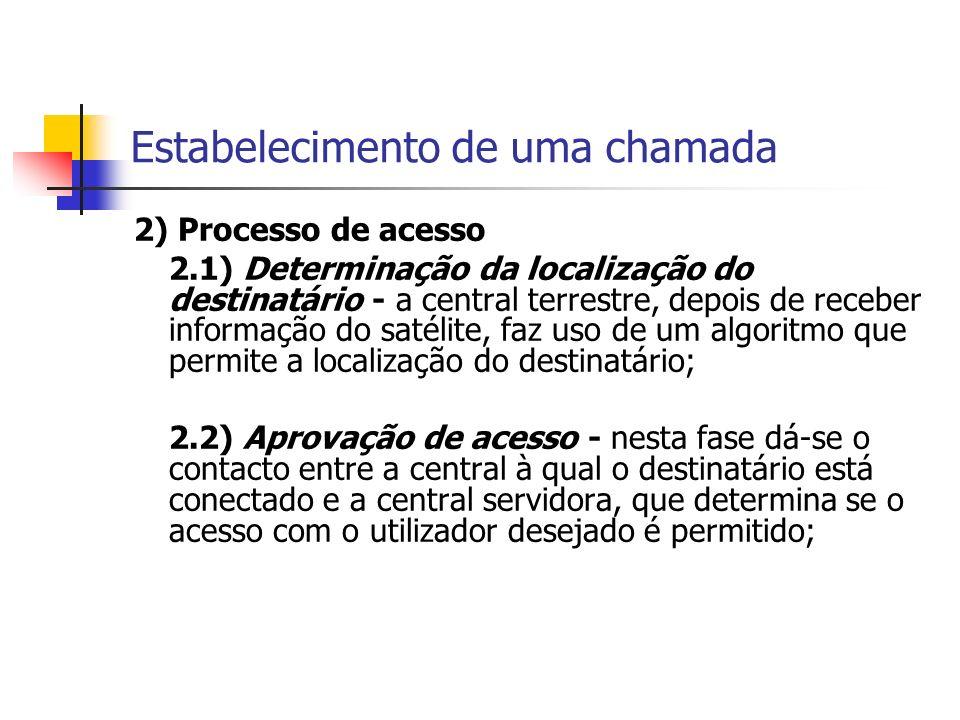 Estabelecimento de uma chamada 2) Processo de acesso 2.1) Determinação da localização do destinatário - a central terrestre, depois de receber informação do satélite, faz uso de um algoritmo que permite a localização do destinatário; 2.2) Aprovação de acesso - nesta fase dá-se o contacto entre a central à qual o destinatário está conectado e a central servidora, que determina se o acesso com o utilizador desejado é permitido;