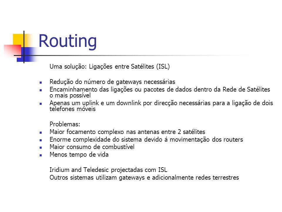 Routing Uma solução: Ligações entre Satélites (ISL) Redução do número de gateways necessárias Encaminhamento das ligações ou pacotes de dados dentro d
