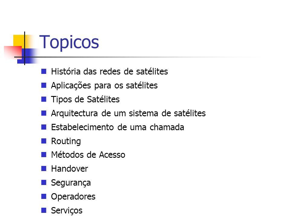 Topicos História das redes de satélites Aplicações para os satélites Tipos de Satélites Arquitectura de um sistema de satélites Estabelecimento de uma chamada Routing Métodos de Acesso Handover Segurança Operadores Serviços