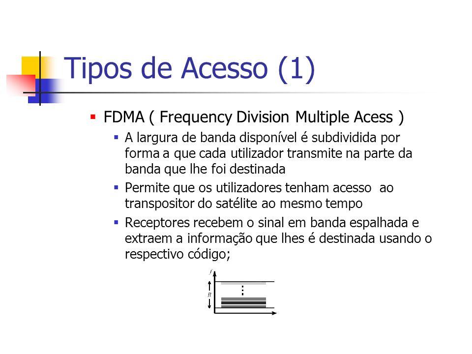 Tipos de Acesso (1) FDMA ( Frequency Division Multiple Acess ) A largura de banda disponível é subdividida por forma a que cada utilizador transmite na parte da banda que lhe foi destinada Permite que os utilizadores tenham acesso ao transpositor do satélite ao mesmo tempo Receptores recebem o sinal em banda espalhada e extraem a informação que lhes é destinada usando o respectivo código;