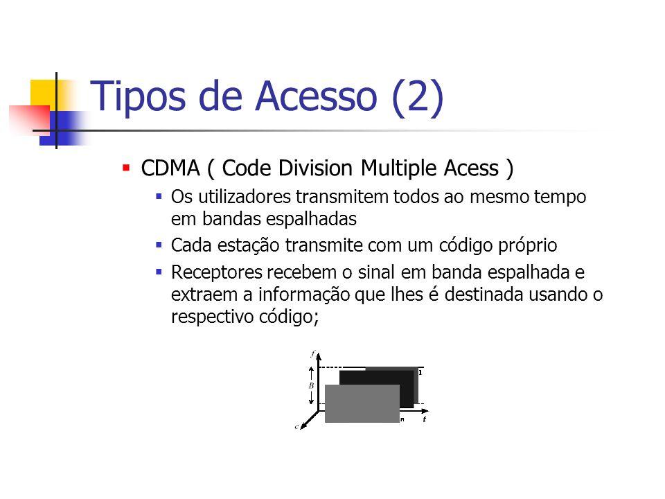 Tipos de Acesso (2) CDMA ( Code Division Multiple Acess ) Os utilizadores transmitem todos ao mesmo tempo em bandas espalhadas Cada estação transmite com um código próprio Receptores recebem o sinal em banda espalhada e extraem a informação que lhes é destinada usando o respectivo código;