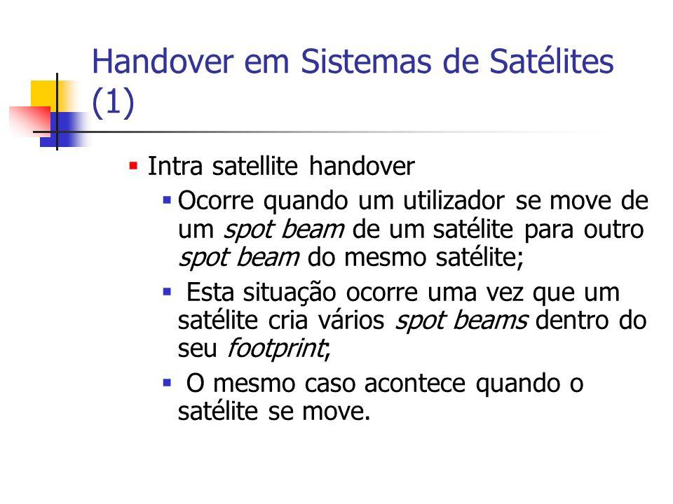Handover em Sistemas de Satélites (1) Intra satellite handover Ocorre quando um utilizador se move de um spot beam de um satélite para outro spot beam do mesmo satélite; Esta situação ocorre uma vez que um satélite cria vários spot beams dentro do seu footprint; O mesmo caso acontece quando o satélite se move.