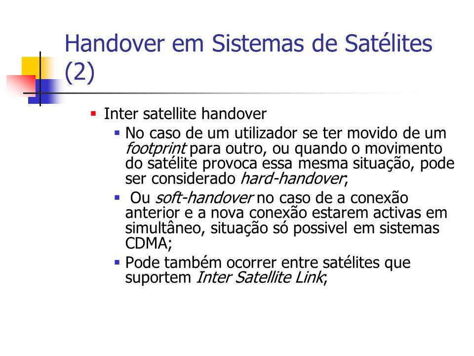 Handover em Sistemas de Satélites (2) Inter satellite handover No caso de um utilizador se ter movido de um footprint para outro, ou quando o moviment