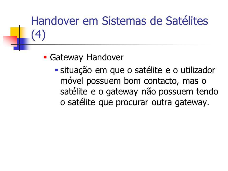 Handover em Sistemas de Satélites (4) Gateway Handover situação em que o satélite e o utilizador móvel possuem bom contacto, mas o satélite e o gateway não possuem tendo o satélite que procurar outra gateway.