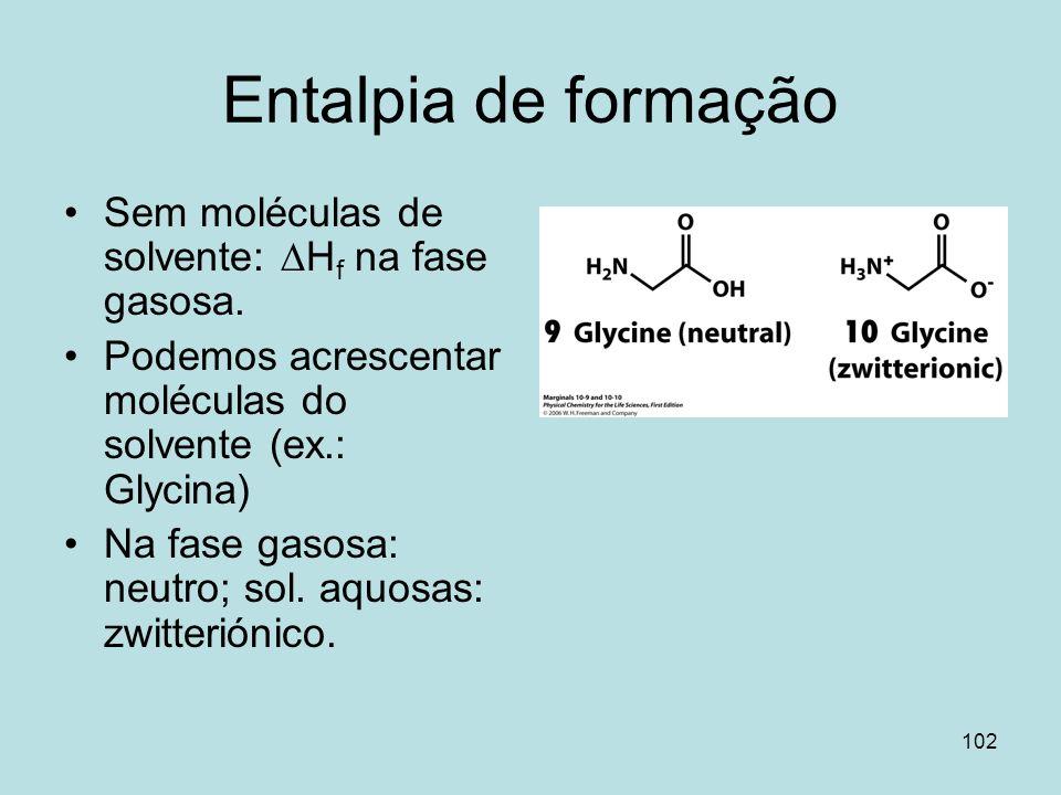102 Entalpia de formação Sem moléculas de solvente: H f na fase gasosa. Podemos acrescentar moléculas do solvente (ex.: Glycina) Na fase gasosa: neutr