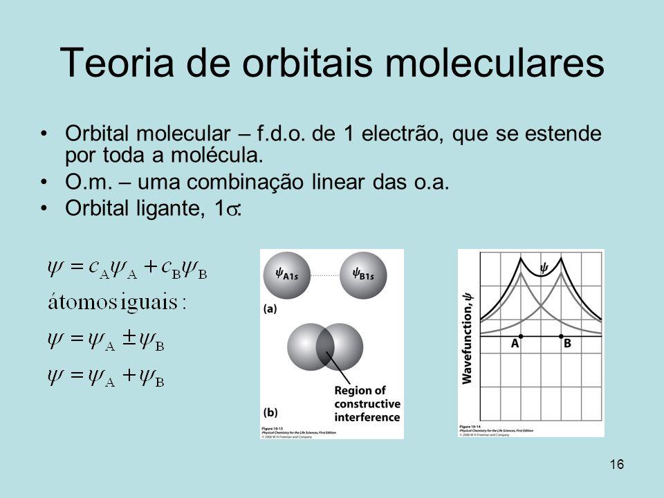 16 Teoria de orbitais moleculares Orbital molecular – f.d.o. de 1 electrão, que se estende por toda a molécula. O.m. – uma combinação linear das o.a.