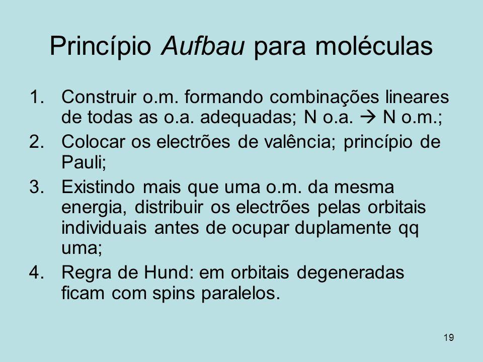 19 Princípio Aufbau para moléculas 1.Construir o.m. formando combinações lineares de todas as o.a. adequadas; N o.a. N o.m.; 2.Colocar os electrões de