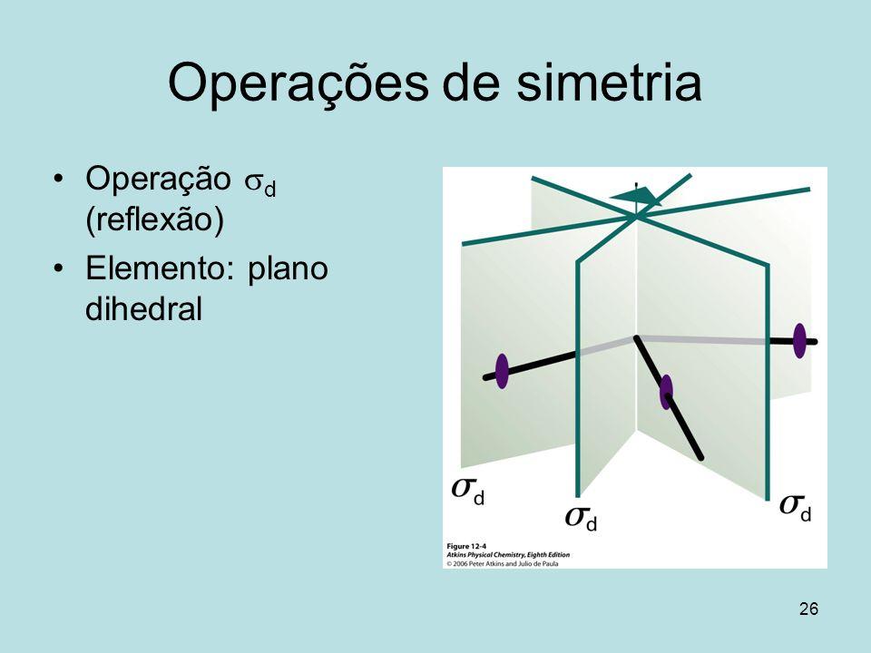 26 Operações de simetria Operação d (reflexão) Elemento: plano dihedral