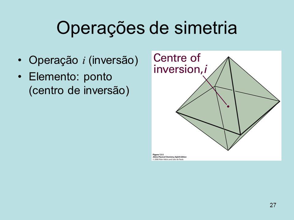 27 Operações de simetria Operação i (inversão) Elemento: ponto (centro de inversão)