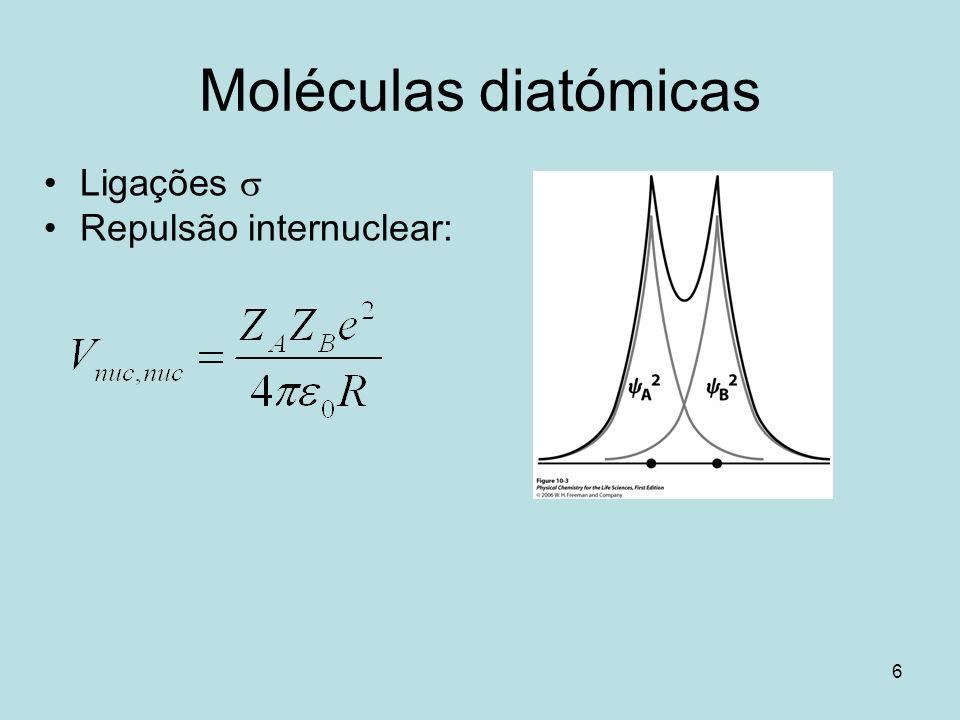 67 Estrutura electrónica de moléculas diatómicas homonucleares Azoto N 2 : –1 2 1 * 2 1 4 2 2 ou –1 g 2 1 u 2 1 u 4 2 g 2 Ordem da ligação: b = ½ (n – n*) b = 3