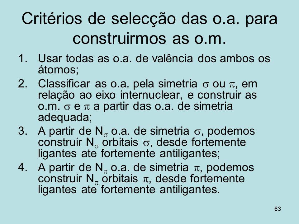 63 Critérios de selecção das o.a. para construirmos as o.m. 1.Usar todas as o.a. de valência dos ambos os átomos; 2.Classificar as o.a. pela simetria