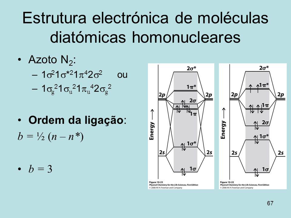 67 Estrutura electrónica de moléculas diatómicas homonucleares Azoto N 2 : –1 2 1 * 2 1 4 2 2 ou –1 g 2 1 u 2 1 u 4 2 g 2 Ordem da ligação: b = ½ (n –