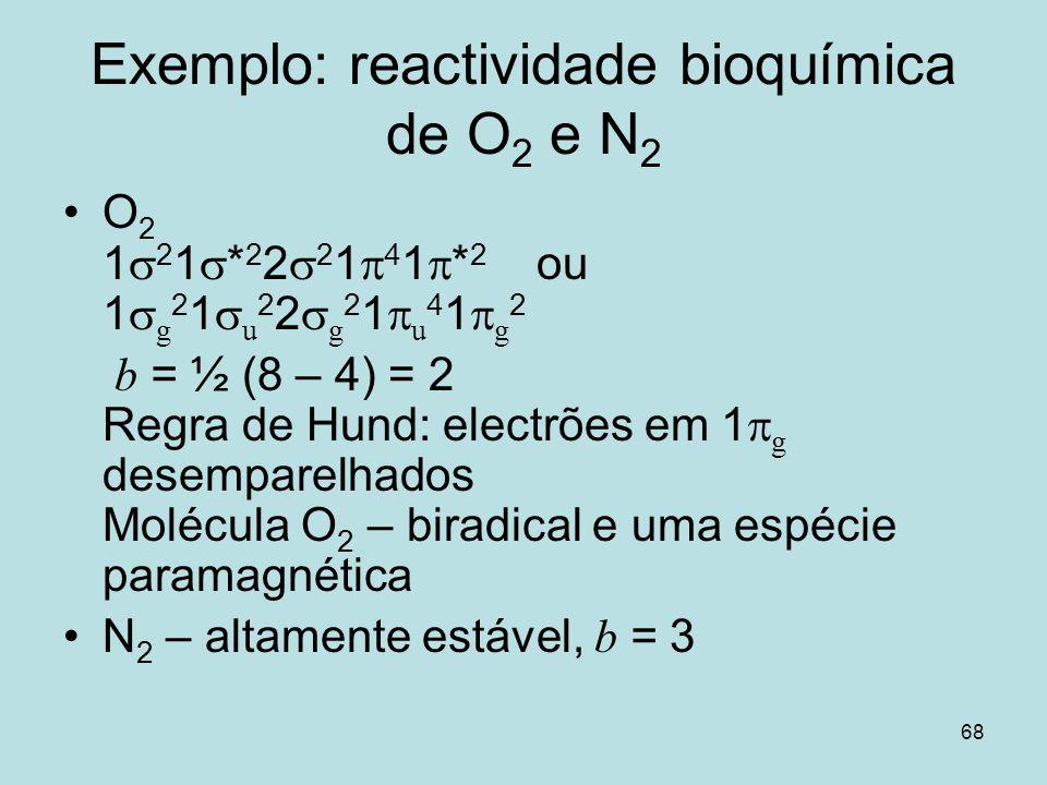 68 Exemplo: reactividade bioquímica de O 2 e N 2 O 2 1 2 1 * 2 2 2 1 4 1 * 2 ou 1 g 2 1 u 2 2 g 2 1 u 4 1 g 2 b = ½ (8 – 4) = 2 Regra de Hund: electrõ