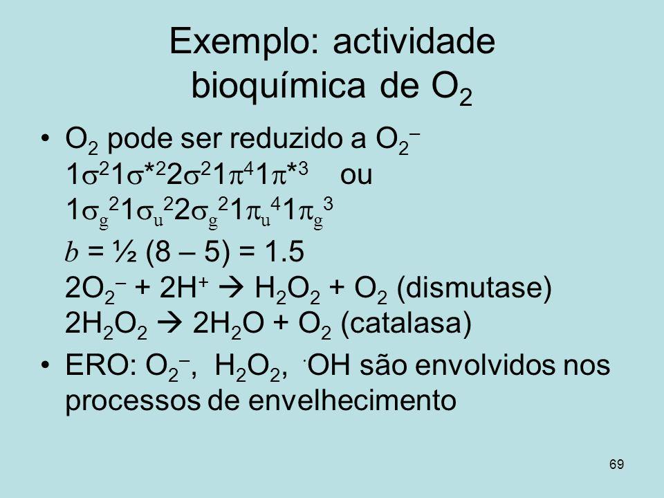 69 Exemplo: actividade bioquímica de O 2 O 2 pode ser reduzido a O 2 – 1 2 1 * 2 2 2 1 4 1 * 3 ou 1 g 2 1 u 2 2 g 2 1 u 4 1 g 3 b = ½ (8 – 5) = 1.5 2O