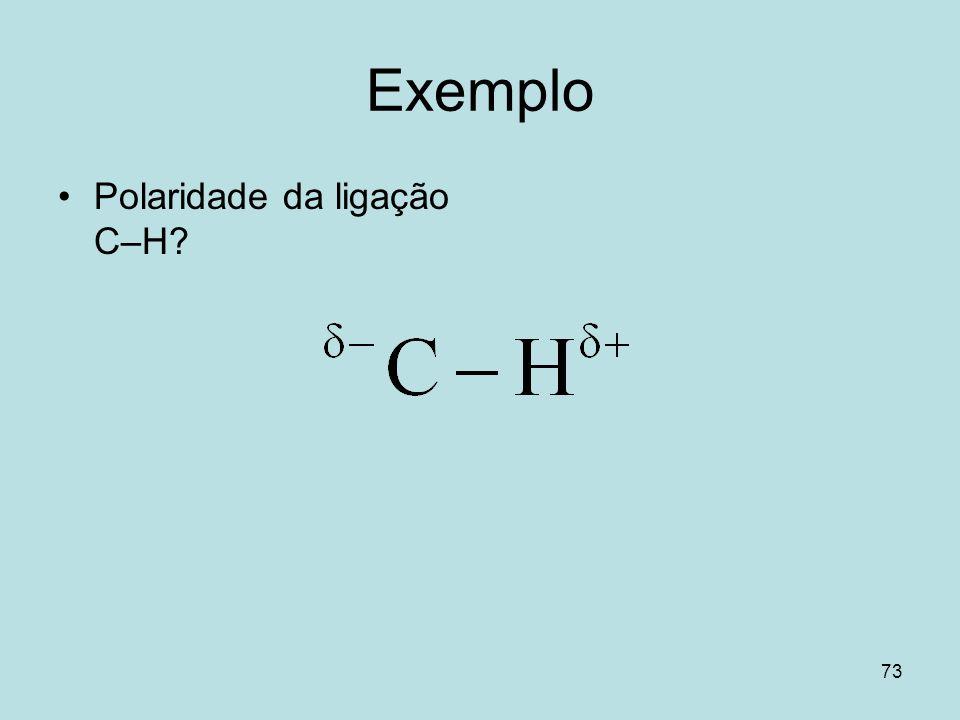 73 Exemplo Polaridade da ligação C–H?