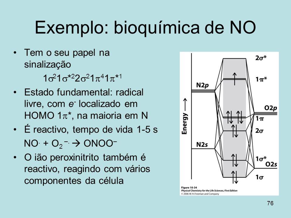 76 Exemplo: bioquímica de NO Tem o seu papel na sinalização 1 2 1 * 2 2 2 1 4 1 * 1 Estado fundamental: radical livre, com e - localizado em HOMO 1 *,