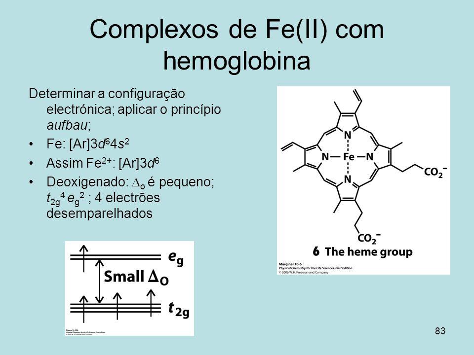 83 Complexos de Fe(II) com hemoglobina Determinar a configuração electrónica; aplicar o princípio aufbau; Fe: [Ar]3d 6 4s 2 Assim Fe 2+ : [Ar]3d 6 Deo